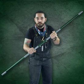 Green Competition Aluminum Bo Staff