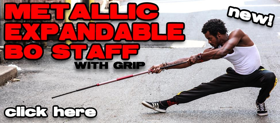 new metallic expandable bo staff with grip